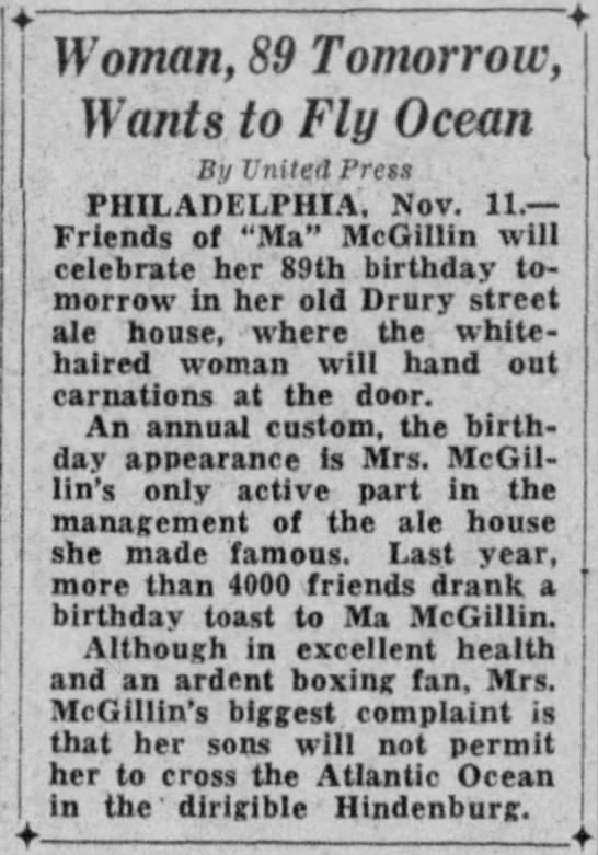 Ma McGillin Turns 89 - making national press!